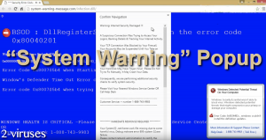 """System Warning"" Popup"
