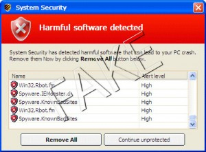 Harmful software detected popup