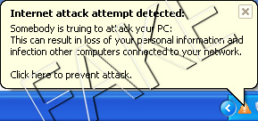 Internet attack attempt detected pop-up