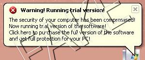 Warning running trial version fake pop-up