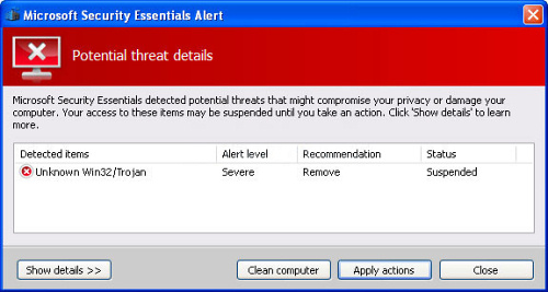 Fake Microsoft Security Essentials Alert Trojan - How to remove - 2