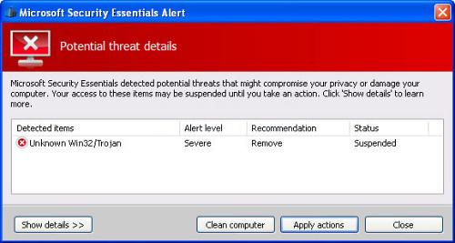 Fake Microsoft Security Essentials Alert Trojan