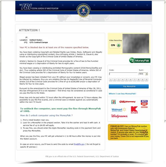 FBI ransomware screenshot