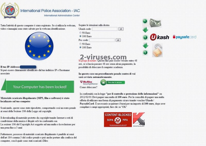 International Police Association Virus