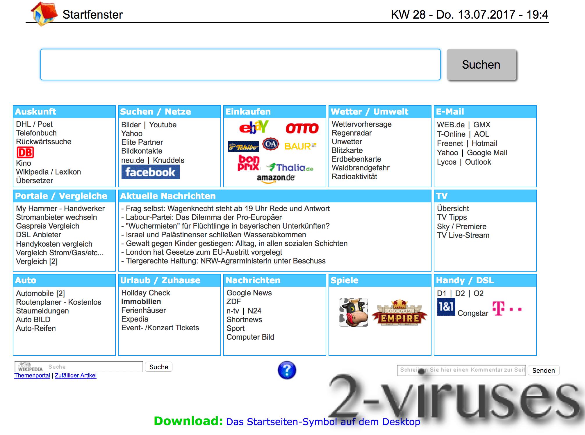 startfenster.de browser hijacker virus