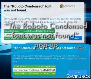 """""""The Roboto Condensed font was not found"""" pop-up"""
