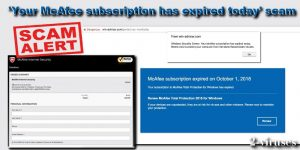 Your McAfee Subscription Has Expired Today scam