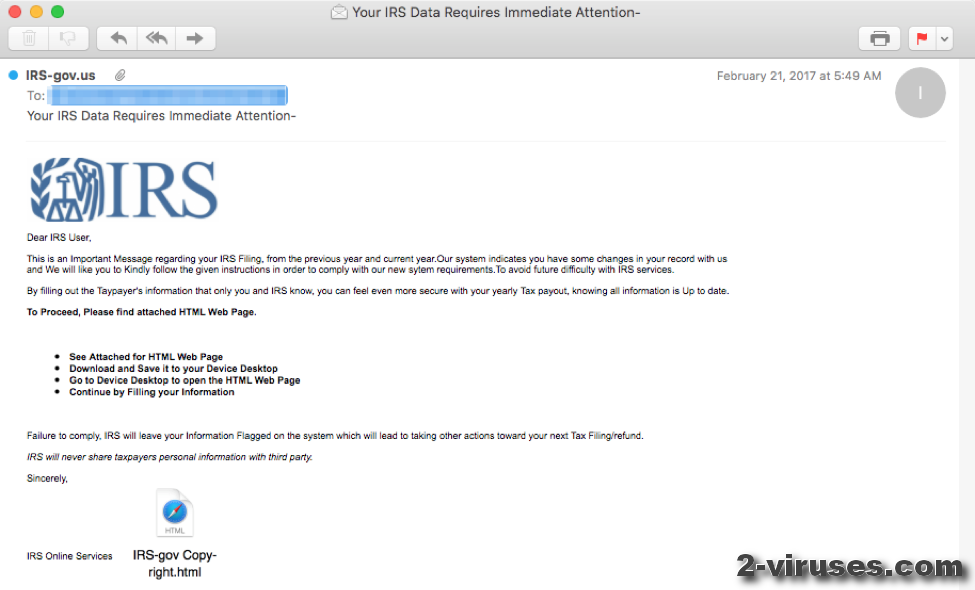 IRS Online Email Scam - How to remove - 2-viruses com