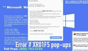 Error # XR01F5 pop-ups