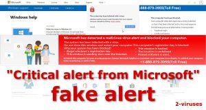 """Critical alert from Microsoft"" Scam"