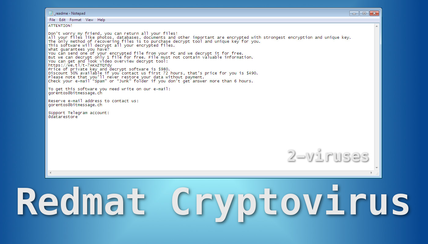 Redmat Ransomware - How to remove - 2-viruses com