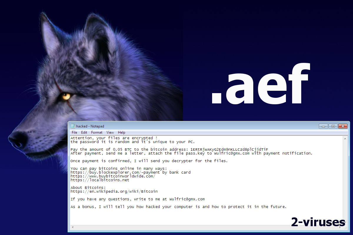 Wulfric Ransomware ( aef files) - How to remove - 2-viruses com