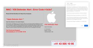 IOS /MAC Defender Alert - Tech Support Scam