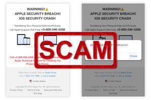 "Fake ""Apple security breach"" Alerts"