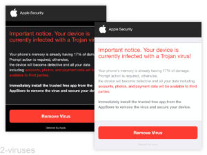 Fake Alerts - Your device is currently infected with a Trojan virus!