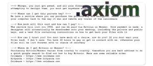 Axiom Wiper Ransomware