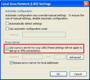 IE Internet Options menu screen shot